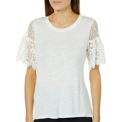 Nanette Lepore Womens Lace Sleeve Top