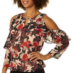Nanette Lepore Womens Ruffled Floral Cold Shoulder Top