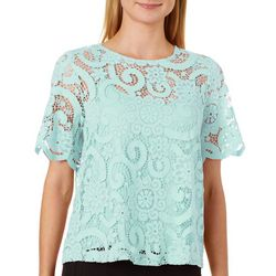 Nanette Lepore Womens Lace Bow Tie Back Top