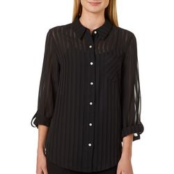 Nanette Lepore Womens Solid Sheer Stripe Button Down Top