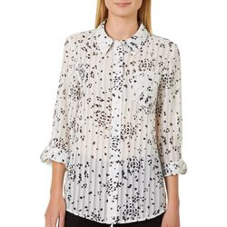 Nanette Lepore Womens Dotted Sheer Stripe Button Down Top