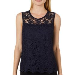 Nanette Lepore Womens Solid Crochet Sleeveless Top
