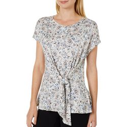 Nanette Lepore Womens Floral Print Tie Front Top