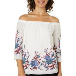 Catherine Malandrino Womens Embroidered Off The Shoulder Top