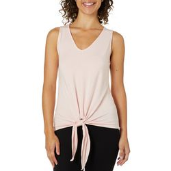 Catherine Malandrino Womens Solid Tie Front Sleeveless Top
