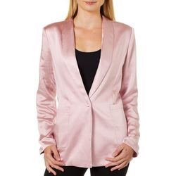 Ontwelfth Womens Solid Satin Long Sleeve Jacket