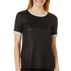 Ontwelfth Womens Solid Shimmer Round Neck Short Sleeve Top