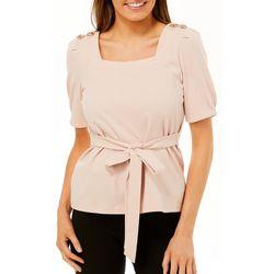 Ontwelfth Womens Solid Jewel Embellished Short Sleeve Top