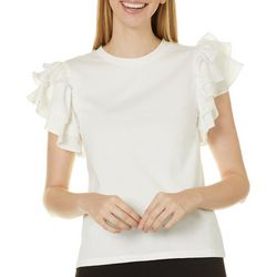 Ontwelfth Womens Solid Ruffle Short Sleeve Top