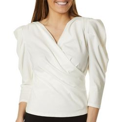 Ontwelfth Womens Solid Faux Wrap Top