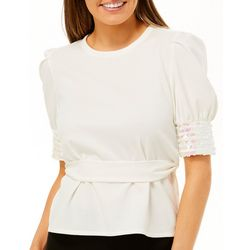 Ontwelfth Womens Solid Sequin Embellished Belted Top