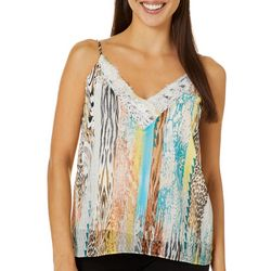 Ontwelfth Womens Mixed Print Lace Trim Sleeveless Top