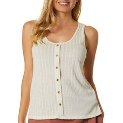 Gilli Womens Solid Ribbed Faux Button Down Sleeveless Top