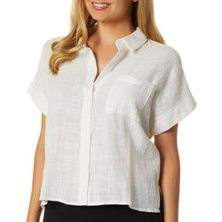 Gilli Womens Solid Button Down Short Sleeve Top