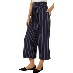 Gilli Womens Striped Belted Capris
