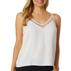 Gilli Womens Solid Mesh Trim Sleeveless Top