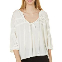 Mustard Seed Womens Solid Tied Neckline Top