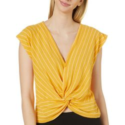Mustard Seed Womens Striped Twist Front Cap Sleeve Top