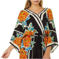 Flying Tomato Womens Graphic Palm Print Surplice Top
