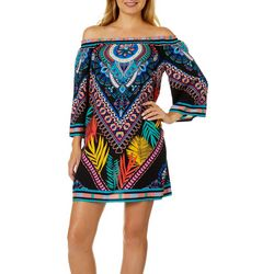Flying Tomato Womens Graphic Palm Print Dress