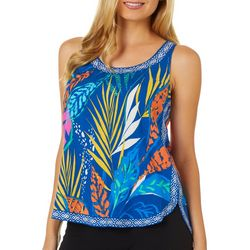 Flying Tomato Womens Tropical Palm Print Sleeveless Top