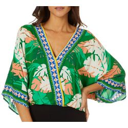 Flying Tomato Womens Tropical Palm Print Surplice Top