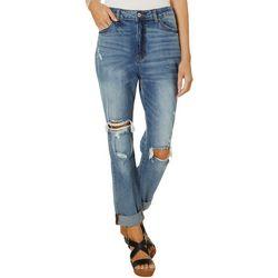 KanCan Jeans Womens Solid Denim Roll Cuff Capris