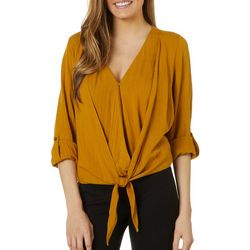 Blu Pepper Womens Solid Faux Wrap Long Sleeve