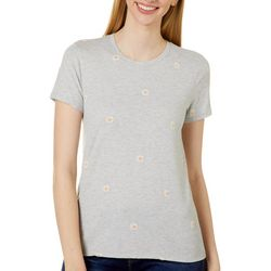 Lucky Brand Womens Daisy Embroidered Short Sleeve Top