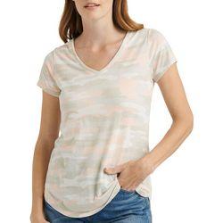 Lucky Brand Womens Camo Print V-Neck T-Shirt