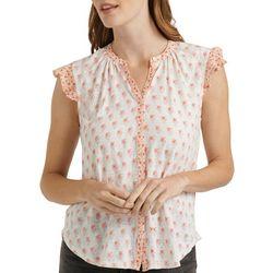 Lucky Brand Womens Floral Print Button Down Sleeveless Top