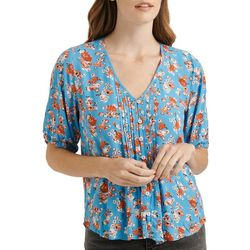 Lucky Brand Womens Floral Print Tuck Detail Button Down Top