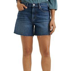 Lucky Brand Womens Solid Relaxed Denim Frayed Hem Shorts