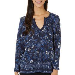 Lucky Brand Womens Floral Print Split Neckline Top