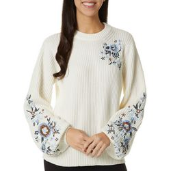 Lucky Brand Womens Solid Floral Embroidered Sweater