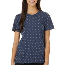 Lucky Brand Womens Floral Print Short Sleeve Top