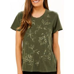 Lucky Brand Womens Floral Embroidered Short Sleeve Top