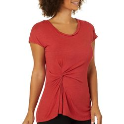 Max Studio Womens Solid Twist Front Short Sleeve Top