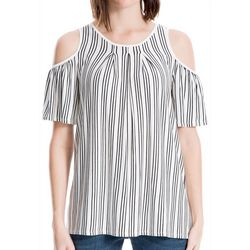 Max Studio Womens Vertical Stripe Cold Shoulder Top
