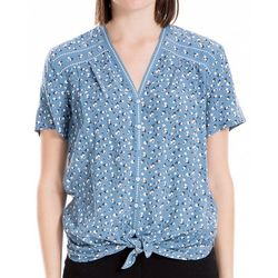 Max Studio Womens Floral Print Tie Front Top