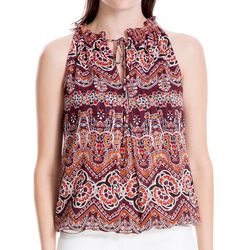 Max Studio Womens Abstract Tie Neck Sleeveless Top