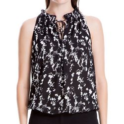 Max Studio Womens Floral Print Tie Neck Sleeveless Top