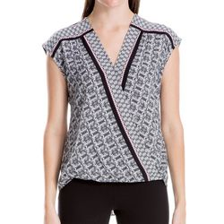 Max Studio Womens Mixed Geometric Faux-Wrap Top