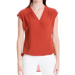 Max Studio Womens Solid Faux-Wrap Cap Sleeve Top