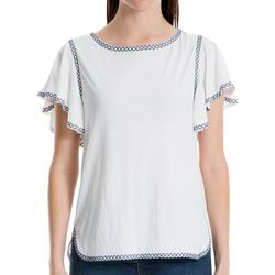 Max Studio Womens Embroidered Flutter Sleeve Top