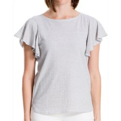 Max Studio Womens Striped Flutter Sleeve Top