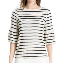 Max Studio Womens Thin Striped Bell Sleeve Top