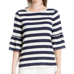 Max Studio Womens Thick Striped Bell Sleeve Top