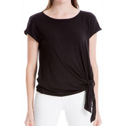 Max Studio Womens Solid Side Tie Short Sleeve Top
