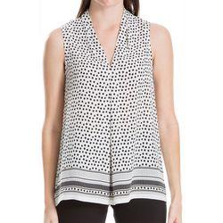 Max Studio Womens Mixed Dot Print Sleeveless Top